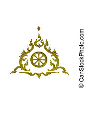 thai traditional golden pattern on white background