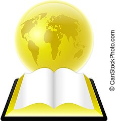 holy bible - An open bible or book in front of a golden...