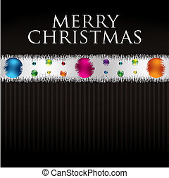 Bauble and tinsel garland Christmas card in vector format