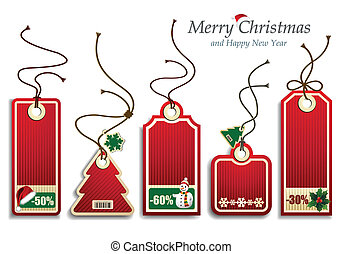 Christmas Price Tags - Vector illustration representing a...