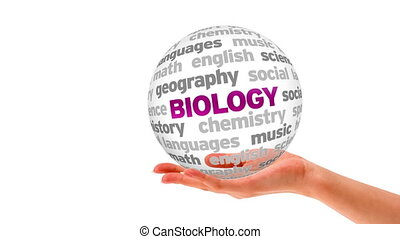 Biology Word Sphere - A person holding a 3d Biology Word...