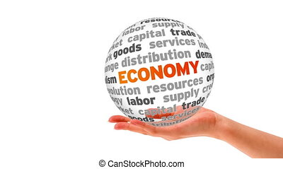 Economy Word Sphere - A person holding a 3D Economy Word...