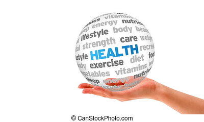 Health Word Sphere - A person holding a 3d Health Word...