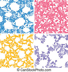 Set of four floral silhouettes seamless patterns backgrounds