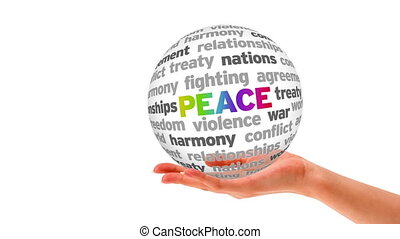 Peace Word Sphere - A person holding a 3D Peace Word Sphere