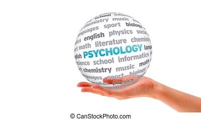 Psychology Word Sphere - A person holding a 3D Psychology...