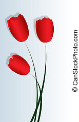 Three red satin tulips - three red satin tulip for the...