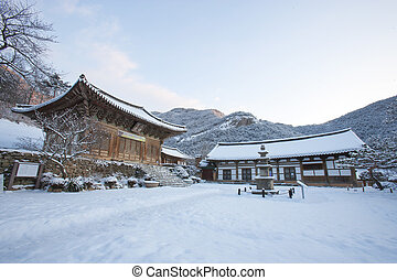 Naesosa temples in south korea, winter landscape