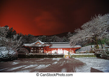Winter Night view Naesosa temples in south korea