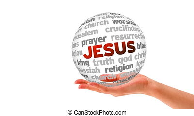 Jesus Word Sphere - A person holding a 3D Jesus Word Sphere