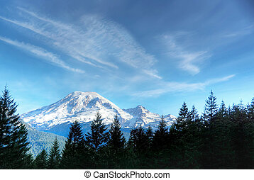 Mt. Rainier - Senic view of Mt. Renier in early fall.