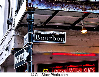 Bourbon Street in New Orleans - Bourbon Street sign in New...