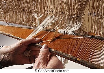 old and new weaving - Various stages of processing of...