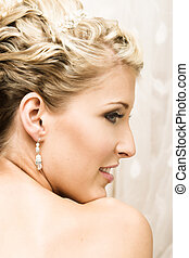 Beautiful Bride - Beautiful Blond bride wearing diamond...