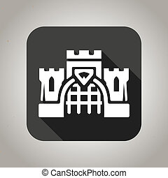 Black flat castle icon for web and mobile applications -...