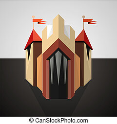 Cartoon castle drawn in perspective. Icon. - Illustration of...