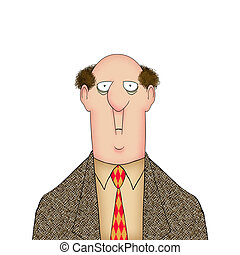 Funny Worried Cartoon Man - Humorous illustration of a man...