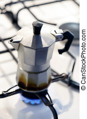 Coffee percolator on a hotplate - Coffee percolator on a gas...