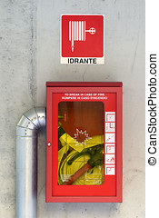 Emergency fire hose or hydrant - Emergency fire hose inside...