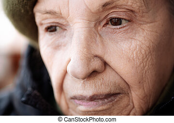 senior close up - selective focus on nearest eye, specia...