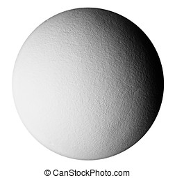 A textured grey sphere with shadows that give it a 3D look