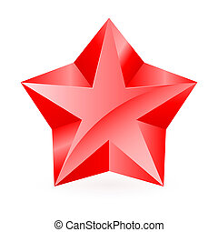 Red star. - Thick shiny red star on white background.