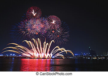 Han River Seoul International Fireworks Festival in South...