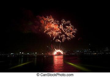 Han River Seoul International Fireworks Festival in South...