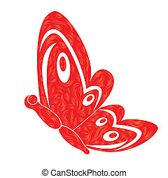 Red Fiery Butterfly Over White