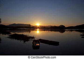 hermoso, paisaje, sur, corea, Changyeong, UpoSwamp,...