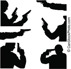 vector image of man and weapon - fine black vector image of...