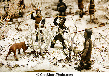 Neolítico, cazador, modelo, sur, corea
