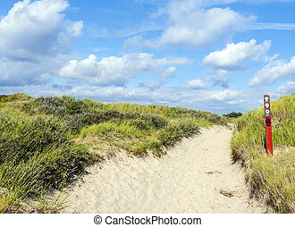 way through the dunes on the island of Fanoe in Denmark
