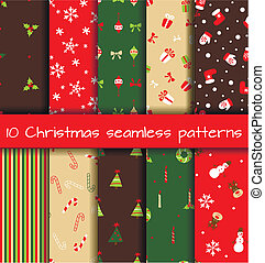Set of  10 Christmas seamless patterns. Vector illustration
