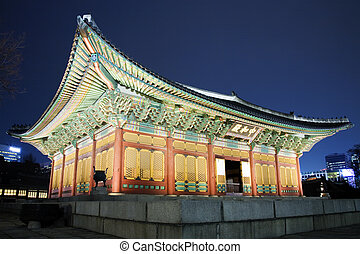 Night view of the old palace Deoksugung in south korea