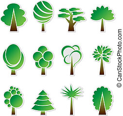 Vector simple green tree icon set