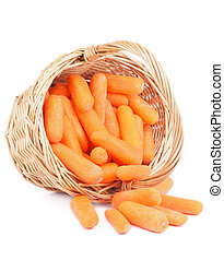 Baby Carrots - Heap of Fresh Raw Peeled Baby Carrots in...