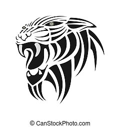 Black silhouette of tiger on a white background