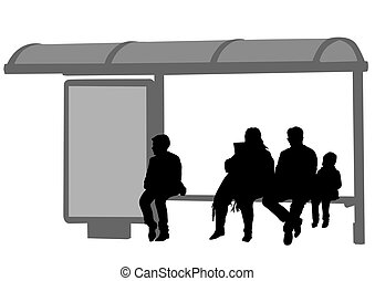 People at bus stop - Silhouettes of people at bus stop