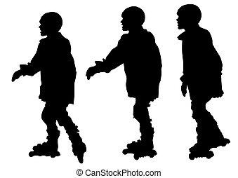 Roller skates - Silhouette of a little boy on roller skates