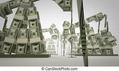 Oil derricks made of money