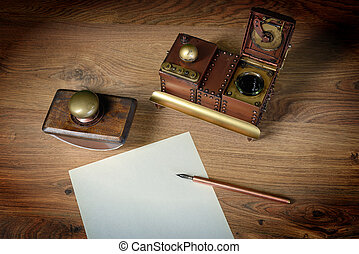 Preparing to write a letter. - Top view of sheet of paper at...