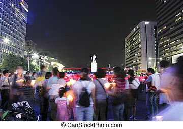 Crowds rally in South Korea demonstration in Seoul Plaza