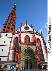 Wurzburg red church fa�ade - Red and white cathedral of...