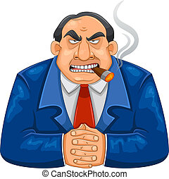 tough boss - tough rich boss smoking cigar and looking...