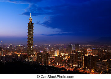 Golden Taipei 101 - Night was coming and lights of downtown...