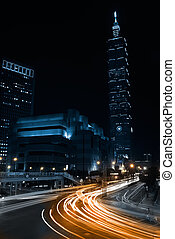 Night Scenes Taipei 101 - Taipei heavy traffic at night, the...