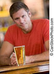 玻璃, 啤酒, 有, 人