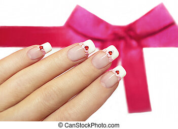 Pink and red hearts. - Beautiful French manicure with pink...