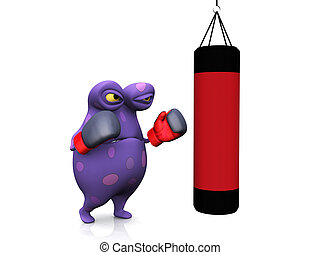 A spotted monster punching a heavy bag. - A cute charming...